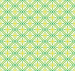 Green Plus Sign and Rectangle Seamless Pattern on Pastel Backgro