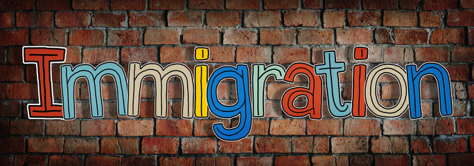 Single Word Colorful Immigration Concept