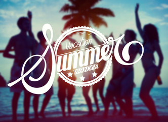Silhouettes People Partying Vacation Summer Concept