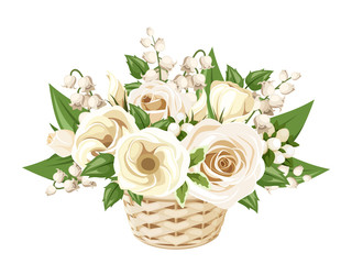 White roses, lisianthuses and lily of the valley in basket.
