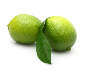Green lime with leaf isolated