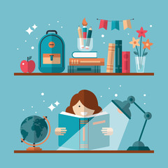Flat stylish design for education concept