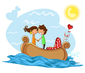 Love couple kissng in boat