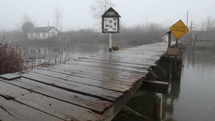 Finn Slough Pedestrian Bridge Rain, Richmond