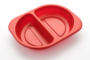 empty plastic food container on white background