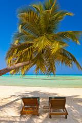 Loungers on Maldives beach