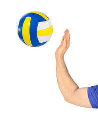 Hand and volleyball