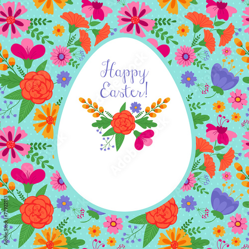 Cotton fabric Easter holiday background with floral seamless pattern
