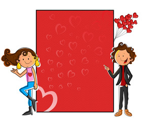 Girl standing with love blank board