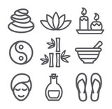 Fototapety Spa line icons