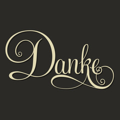 DANKE hand lettering monochrome. German edition.