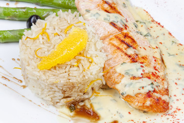 Grilled salmon, white rice and vegetables