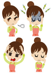 エプロンの若い女性、困り顔セット