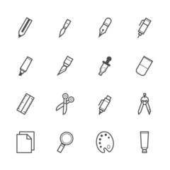 Stationery and Painting tools icons