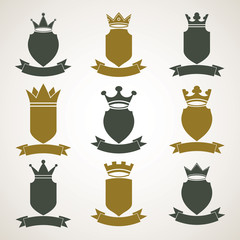 Heraldic royal blazon illustrations set - imperial striped decor