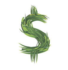 Dollar sign from grass. Vector illustration