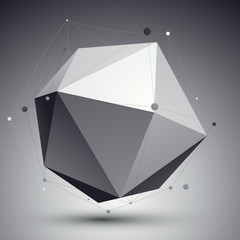 3D vector abstract tech illustration, perspective geometric unus