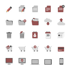 Set of multimedia flat design icons 1 - online shopping