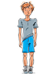 Vector drawing of a red-haired Caucasian boy, cartoon hand-drawn