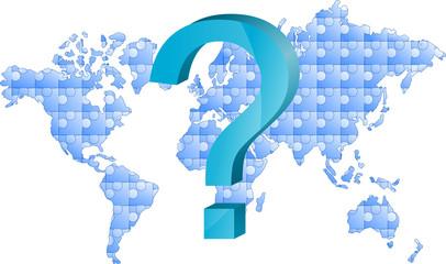 mapa świata puzzle i znak zapytania