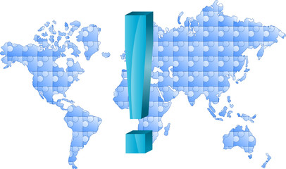 mapa świata puzzle i wykrzyknik