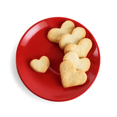 Cookies-hearts in a red plate