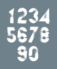 Handwritten white vector numbers, stylish numbers set drawn with