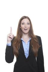 Hinweis: Frau mit erhobenem Zeigefinger