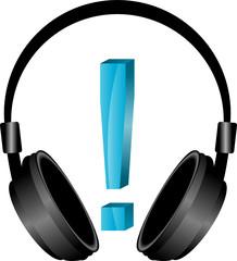 słuchawki i wykrzyknik