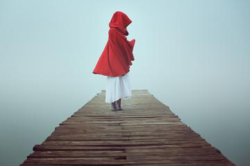 Dark little red riding hood in the mist