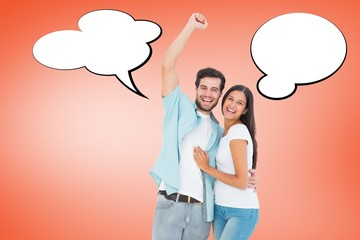 Composite image of happy casual couple cheering at camera