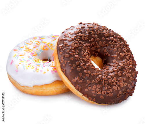 canvas print picture Donuts isolated on white background. Tasty glazed donuts closeup