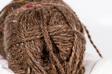 The tangle of brown wool large abstract background