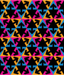 Geometric creative continuous multicolored pattern with arrows a