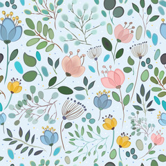 Vector seamless pattern. Watercolor flowers