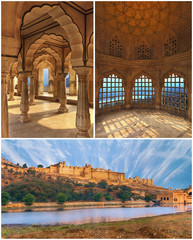 View of Amber fort, collage Jaipur, India