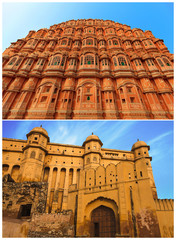Facades of Amber fort and Hawa Mahal, Jaipur