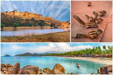 Indian landmarks collage, Goa, Jaipur