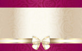 Fototapety Luxury gift certificate with floral pattern and cream ribbon