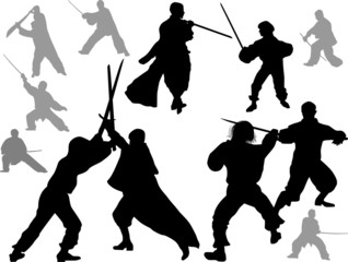 fighting men with swords on white