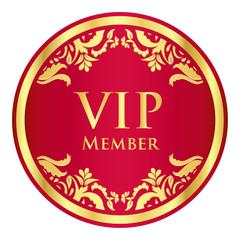 Red VIP member badge with golden vintage pattern