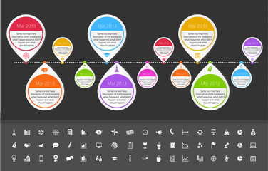 Timeline template in sticker style for startups