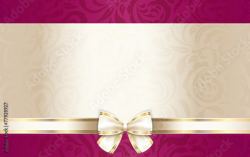 Fototapeta Luxury gift certificate with floral pattern and cream ribbon