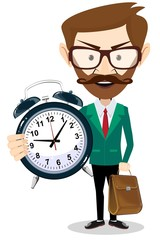Adult teacher with an alarm clock, vector illustration