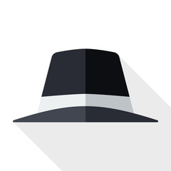 Black hat icon with long shadow on white background