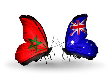 Two butterflies with flags Morocco and Australia