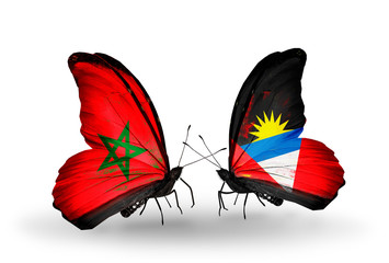 Two butterflies with flags Morocco and Antigua and Barbuda