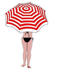 Mujer bajo sombrilla sobre fondo blanco