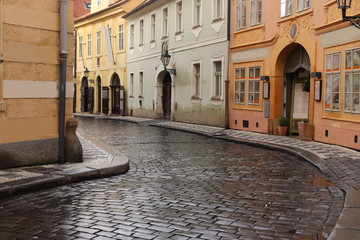 Typical street in Prague, Czech Republic