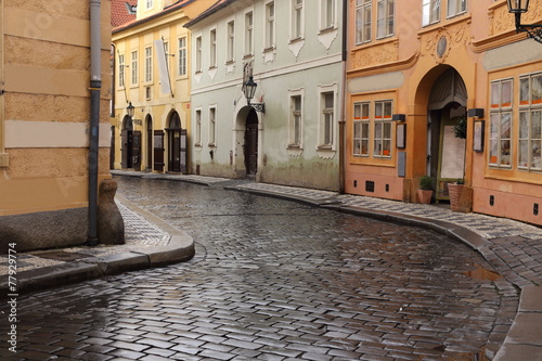 Foto op Canvas Praag Typical street in Prague, Czech Republic
